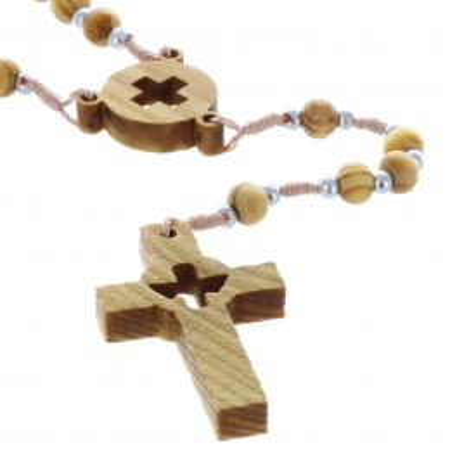 Chapelet corde, grains bois, coeur et croix ajourée
