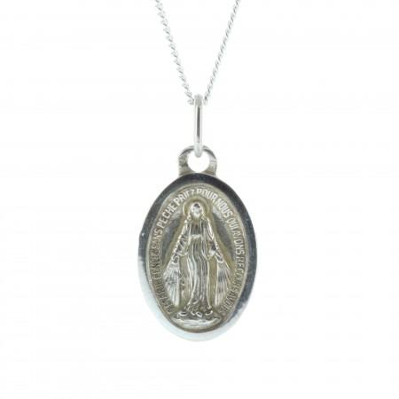Parure Argent, chaîne et médaille de la Vierge Miraculeuse