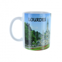 White mug Apparition and Basilica of Lourdes