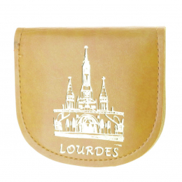 Light brown leather rosary case and golden Basilica of Lourdes