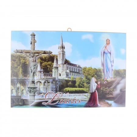 Cadre religieux en bois Apparition et Basilique de Lourdes 29 cm x 19 cm