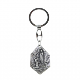 Hexagonal key-ring, Lourdes Apparition and Saint Christopher