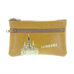Simulated leather case purse and Basilica of Lourdes