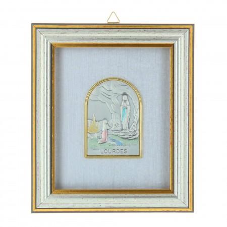 Cadre religieux en bois Apparition de Lourdes argentée sous verre 12 x 14 cm