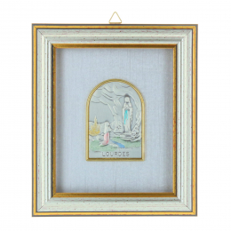 Lourdes Apparition silvery religious frame under glass 12 x 14 cm