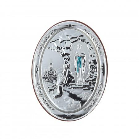 Cadre religieux en bois ovale Apparition de Lourdes argentée 7 x 10 cm