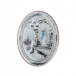 Lourdes Apparition oval silvery religious wood frame 7 x 10 cm