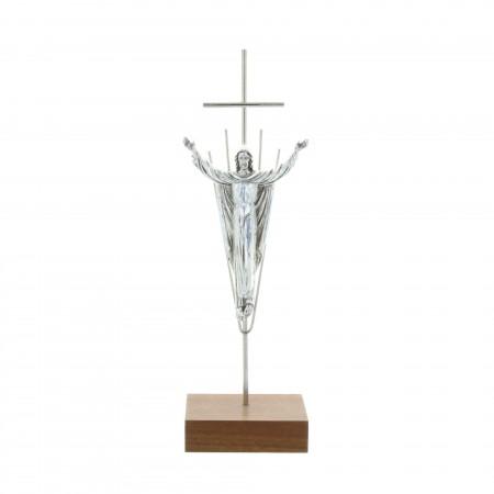 Crucifix métal argenté et Christ ressuscité 19,5 cm