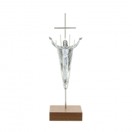 Silver metal crucifix and Christ the Redeemer 19.5 cm