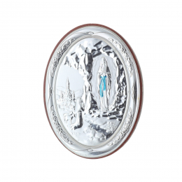 Lourdes Apparition oval silvery religious wood frame 5.5 x 7.5 cm