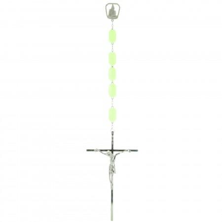 Chapelet lumineux à suspendre grains cubiques et coeur Apparition de Lourdes 152 cm