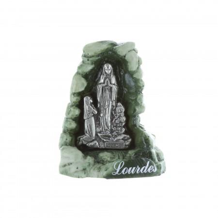 Statue Apparition de Lourdes et grotte en résine verte 6 cm