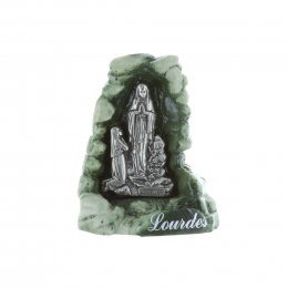 Lourdes Apparition statue and green resin Grotto 6 cm