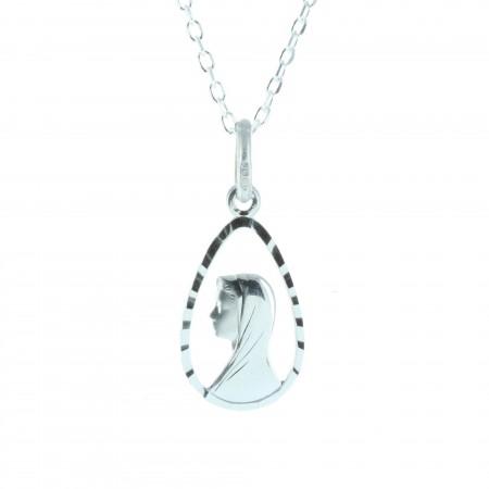 Parure Argent massif, chaîne et médaille du portrait de la Vierge
