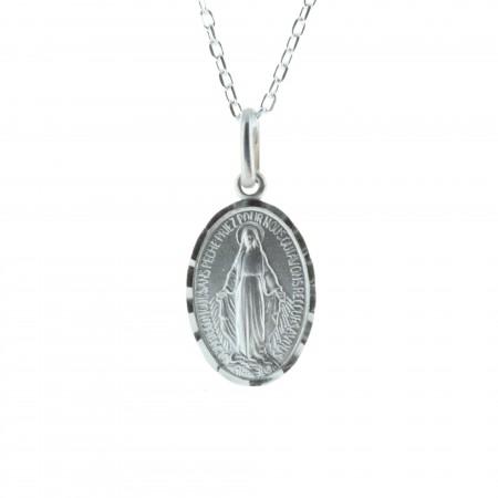 Parure Argent massif, chaîne et médaille de la Vierge Miraculeuse