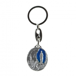 Round key-ring blue background, Lourdes Apparition and Saint Christopher