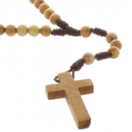 Chapelet corde, grains bois d'olivier et paters croix