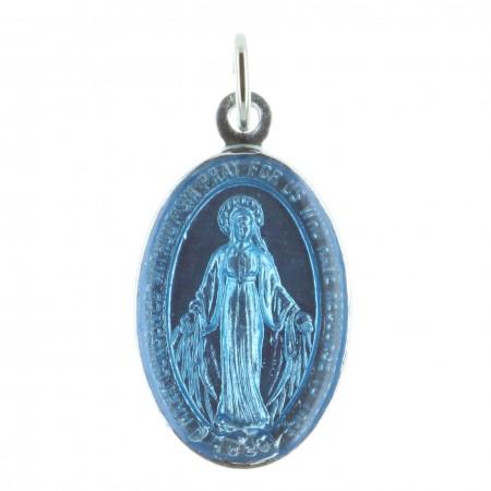 Médaille métal émaillé bleu 1 face Vierge Miraculeuse