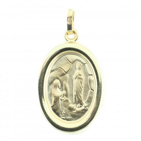 Medaglia Oro 9 carati Apparizione di Lourdes e Ritratto Madonna