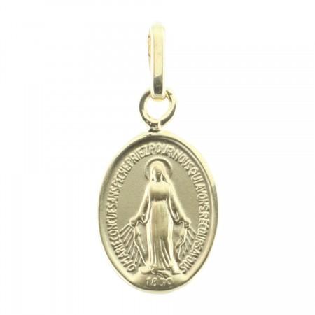 Medaglia Oro 18 carati Madonna Miracolosa bordi lucidati