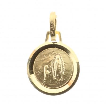 Medaglia Oro 9 carati rotonda Apparizione di Lourdes bordo lapidato