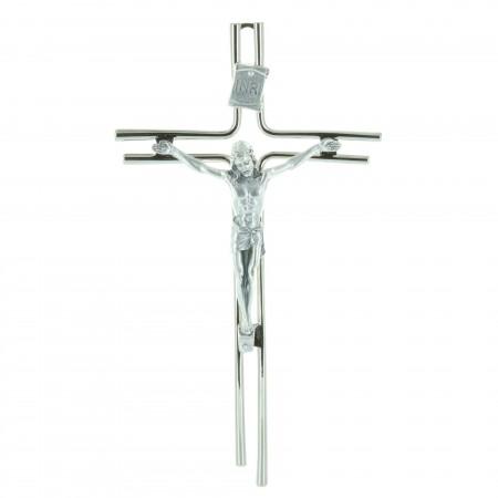 Crocifisso metallo, Cristo argentato e filo argentato 20 cm