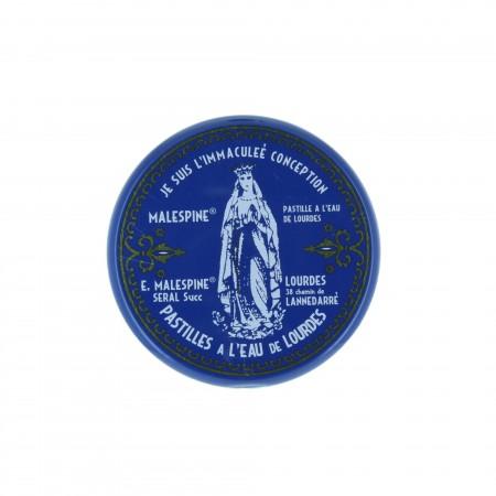 Jolie boîte en métal avec 100g de pastilles menthe à l'eau de Lourdes
