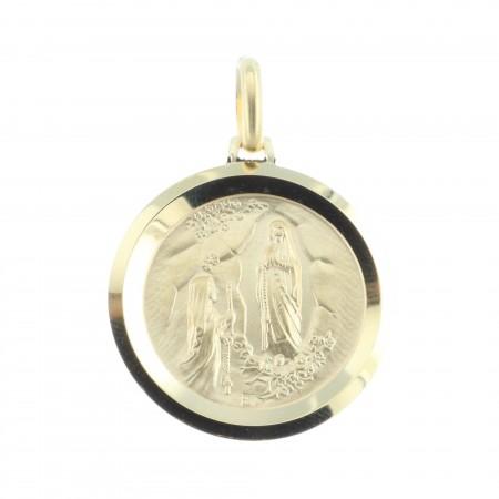 Médaille plaqué Or 18 carats ronde, Portrait Vierge Marie et Apparition de Lourdes