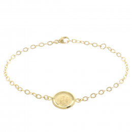 Gold-plated bracele, Lourdes Apparition and Our Lady double-sided center medallion