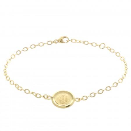 Bracelet Plaqué Or, médaille centrale double face Apparition de Lourdes et Vierge Marie