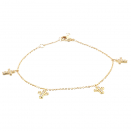Gold-plated chain bracelet and hanging strass cross