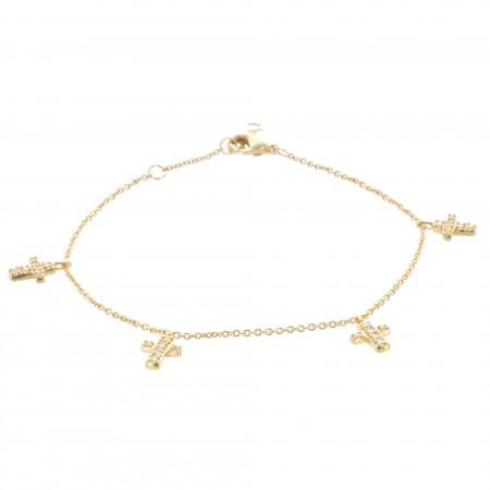 Bracelet chaîne Plaqué Or et croix à strass pendantes