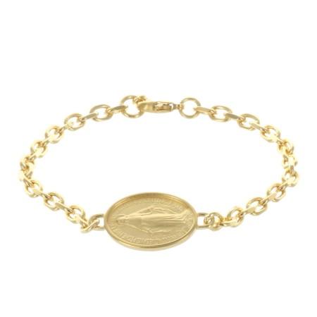 Bracelet Plaqué Or et médaille Vierge Miraculeuse