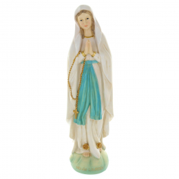 Our Lady of Lourdes colour resin statue on rock 40 cm