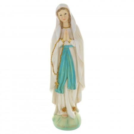 Statue Vierge Marie en résine colorée sur rocher 40 cm