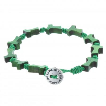 Bracelet dizainier corde, bois et croix de Tau