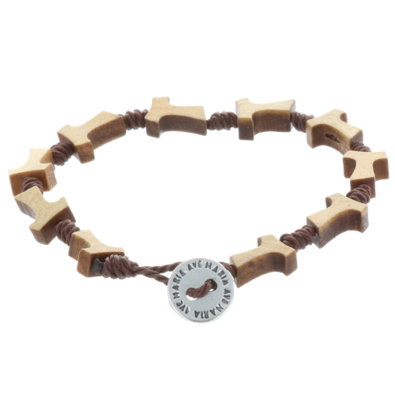 Cord And Wood Rosary Bracelet Tau Cross