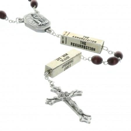 Chapelet eau de Lourdes,les 20 mystères du Rosaire, grains bois