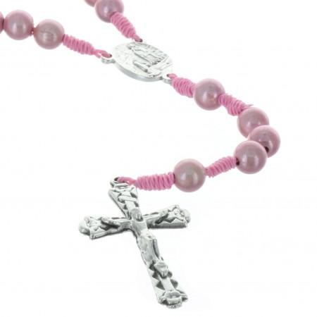 Chapelet corde grains translucides et coeur Apparition de Lourdes
