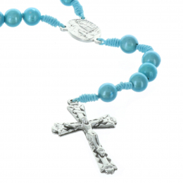 Cord rosary translucent beads and Lourdes Apparition centerpiece