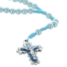 Cord rosary and iridescent beads