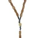 Chapelet corde grains carrés en bois
