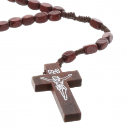Cord rosary square wood beads