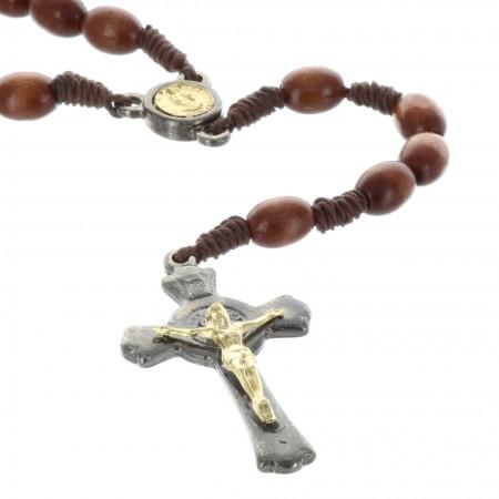 Chapelet Saint Benoît en bois et coeur médaille dorée Saint Benoît