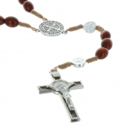 Cord rosary wood beads and Saint Benedict paters