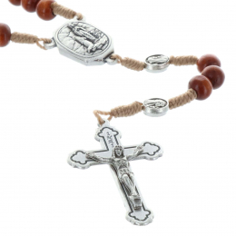 Lourde water cord rosary wood beads and Lourdes Apparition paters