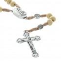 Chapelet avec l'eau de Lourdes en corde grains bois et paters Apparition de Lourdes