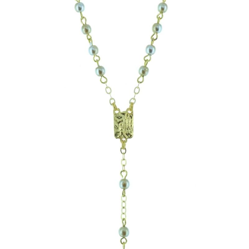 Rosario resina perline colorate e crociera Apparizione di Lourdes