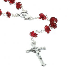 Rosary  with coloured rose petal shape beads
