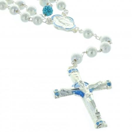 Chapelet de Lourdes en métal pailletté et paters colorés paillettés et coeur de Lourdes